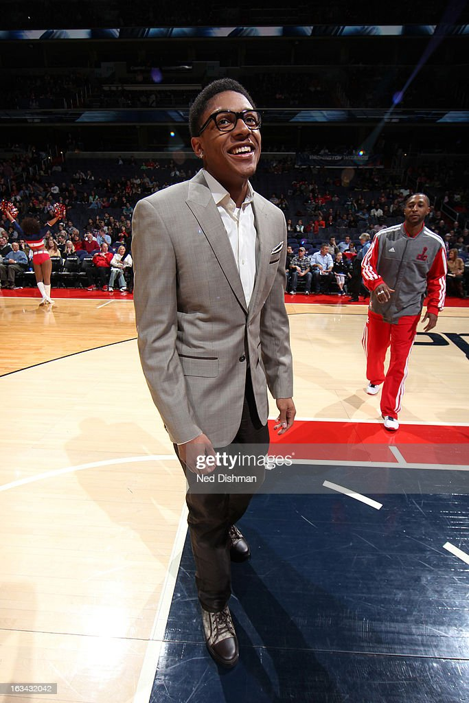 Bradley Beal #3 of the Washington Wizards stands in street clothes during pre-game introductions against the Charlotte Bobcats during the game at the Verizon Center on March 9, 2013 in Washington, DC.