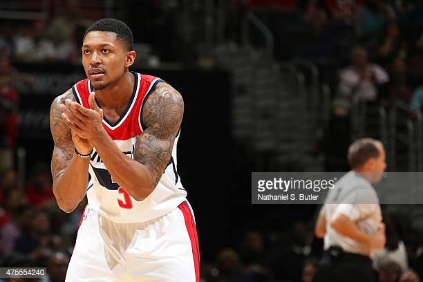 Bradley Beal of the Washington Wizards stands on court against the Atlanta Hawks in Game Four of the Eastern Conference Semifinals of the 2015 NBA...