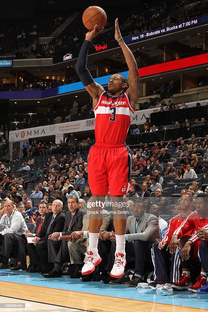 <a gi-track='captionPersonalityLinkClicked' href=/galleries/search?phrase=Bradley+Beal&family=editorial&specificpeople=7640439 ng-click='$event.stopPropagation()'>Bradley Beal</a> #3 of the Washington Wizards takes a shot against the Charlotte Bobcats at the Time Warner Cable Arena on November 13, 2012 in Charlotte, North Carolina.
