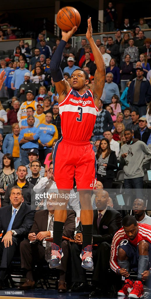Bradley Beal #3 of the Washington Wizards takes a shot against the Denver Nuggets at the Pepsi Center on January 18, 2013 in Denver, Colorado. The Wizards defeated the Nuggets 112-108.