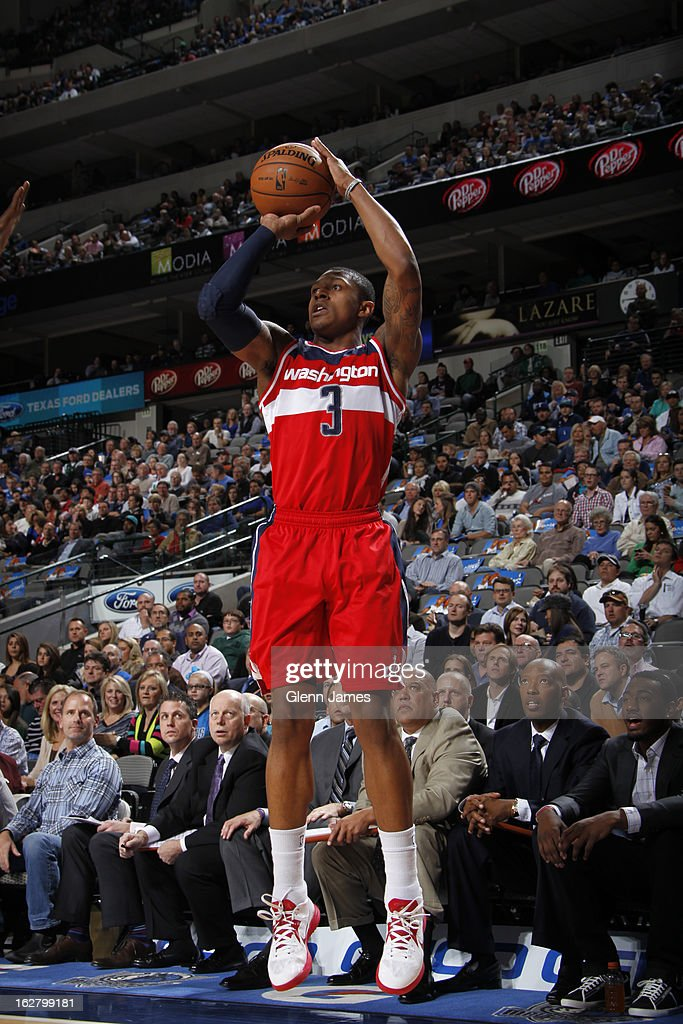 <a gi-track='captionPersonalityLinkClicked' href=/galleries/search?phrase=Bradley+Beal&family=editorial&specificpeople=7640439 ng-click='$event.stopPropagation()'>Bradley Beal</a> #3 of the Washington Wizards takes a shot against the Dallas Mavericks on November 14, 2012 at the American Airlines Center in Dallas, Texas.