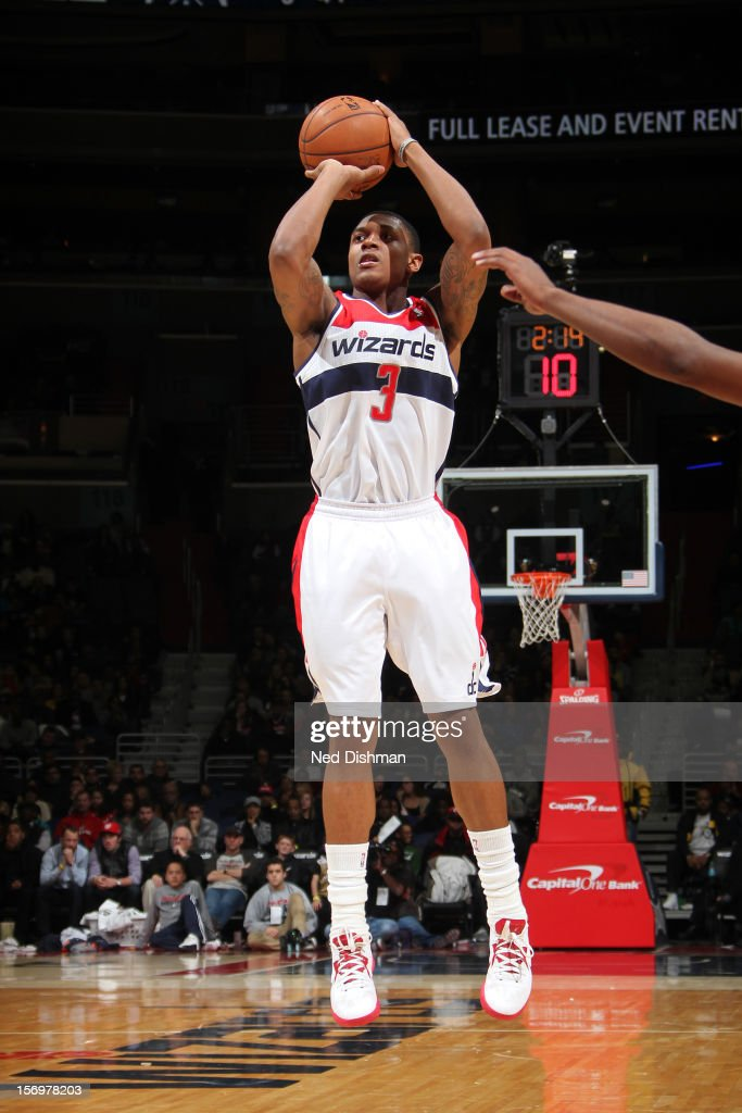 <a gi-track='captionPersonalityLinkClicked' href=/galleries/search?phrase=Bradley+Beal&family=editorial&specificpeople=7640439 ng-click='$event.stopPropagation()'>Bradley Beal</a> #3 of the Washington Wizards takes a shot against the Charlotte Bobcats during the game at the Verizon Center on November 24, 2012 in Washington, DC.