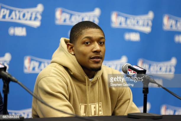 Bradley Beal of the Washington Wizards talks with the press after the game against the Boston Celtics during Game Six of the Eastern Conference...