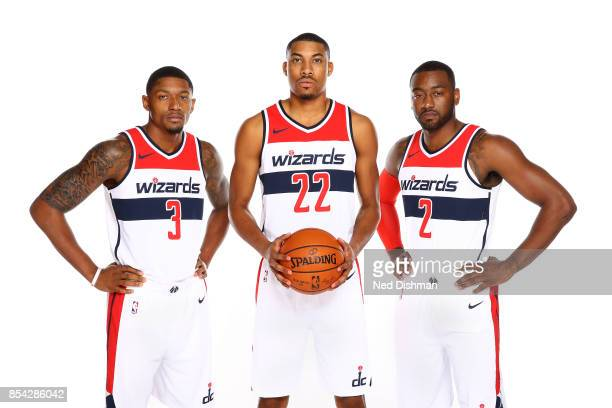 Bradley Beal Otto Porter Jr #22 and John Wall of the Washington Wizards pose for a portrait during Media Day on September 25 2017 at Capital One...