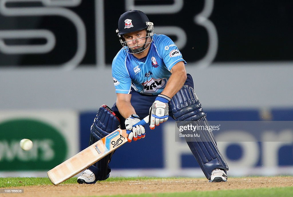 Bradley Cachopa of Auckland bats during the HRV Cup Twenty20 match between the Auckland Aces and Wellington Firebirds at Eden Park on December 28, 2012 in Auckland, New Zealand.