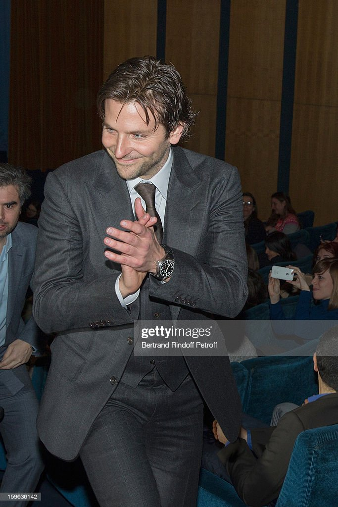 <a gi-track='captionPersonalityLinkClicked' href=/galleries/search?phrase=Bradley+Cooper&family=editorial&specificpeople=680224 ng-click='$event.stopPropagation()'>Bradley Cooper</a> acknowledges applause after he delivered a presentation speech before the screening of 'Happiness Therapy' (Silver Linings Playbook) during its premiere at Cinema UGC Normandie on January 17, 2013 in Paris, France.