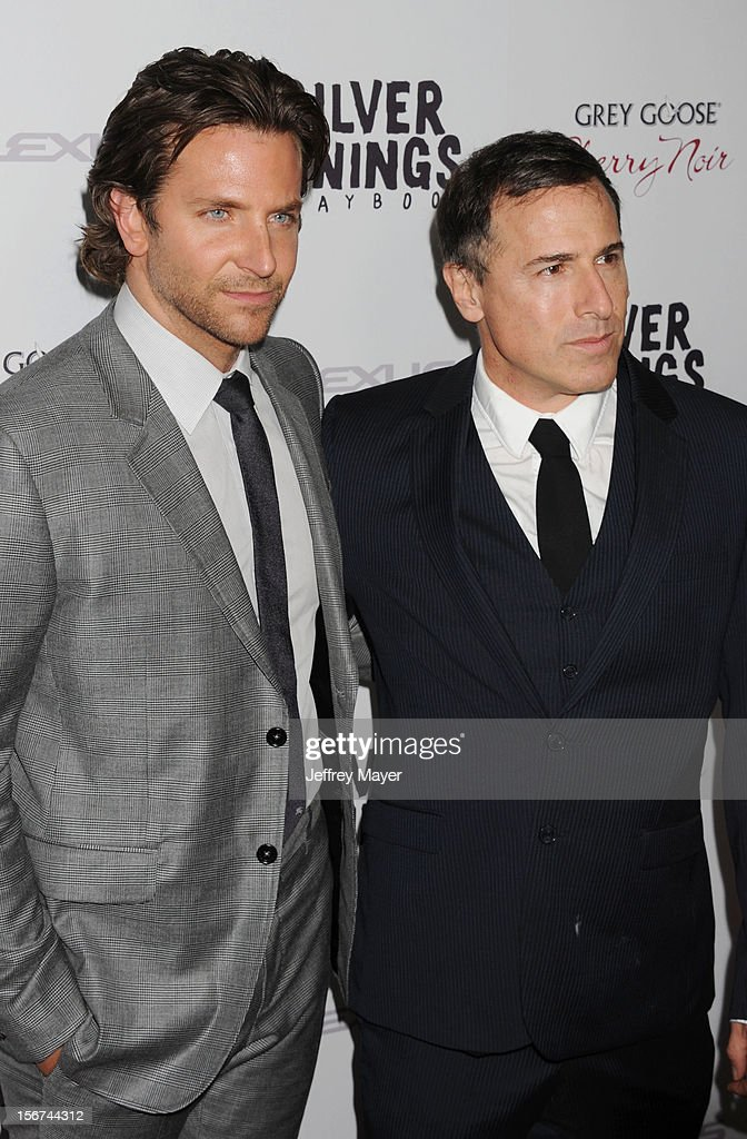 <a gi-track='captionPersonalityLinkClicked' href=/galleries/search?phrase=Bradley+Cooper&family=editorial&specificpeople=680224 ng-click='$event.stopPropagation()'>Bradley Cooper</a> and <a gi-track='captionPersonalityLinkClicked' href=/galleries/search?phrase=David+O.+Russell&family=editorial&specificpeople=215306 ng-click='$event.stopPropagation()'>David O. Russell</a> arrives at the 'Silver Linings Playbook' - Los Angeles Special Screening at the Academy of Motion Picture Arts and Sciences on November 19, 2012 in Beverly Hills, California.