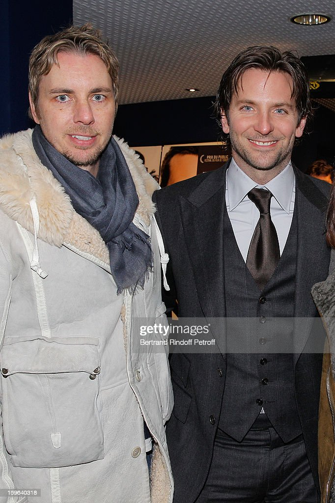 Bradley Cooper (R) and Dax Shepard attend the premiere of 'Happiness Therapy' (Silver Linings Playbook) at Cinema UGC Normandie on January 17, 2013 in Paris, France.