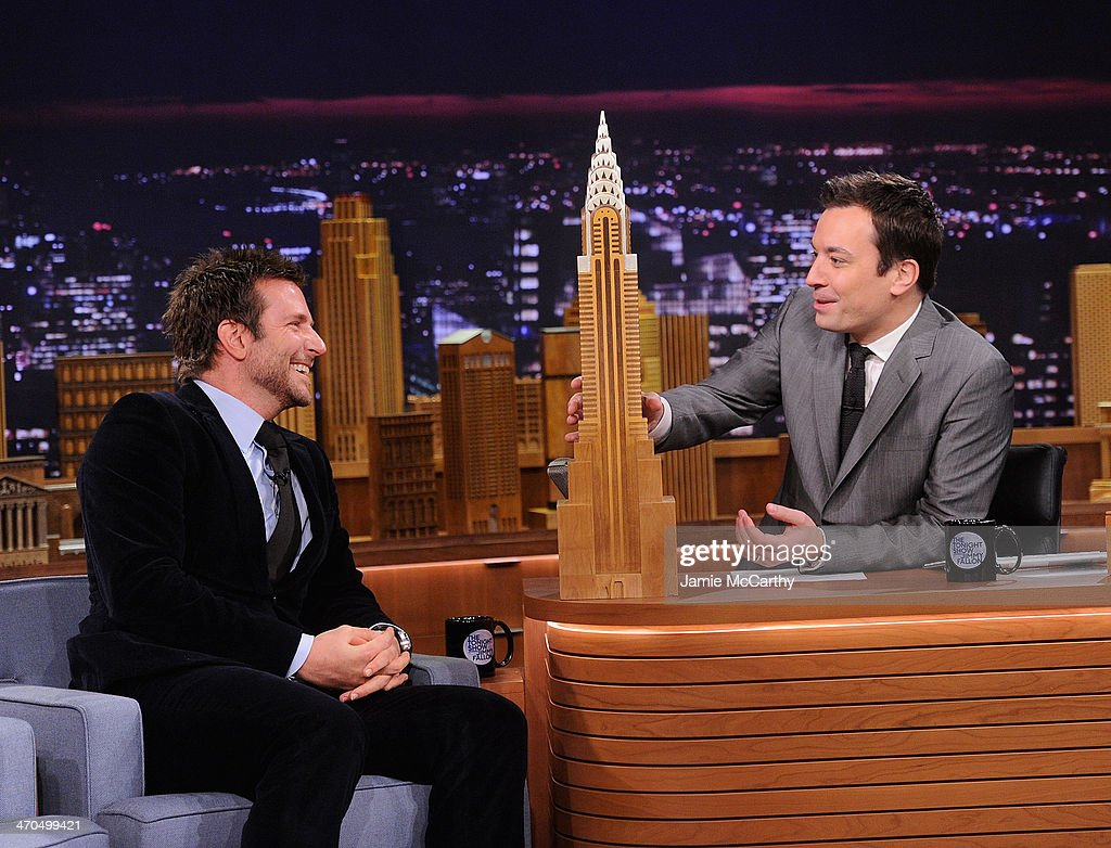 <a gi-track='captionPersonalityLinkClicked' href=/galleries/search?phrase=Bradley+Cooper&family=editorial&specificpeople=680224 ng-click='$event.stopPropagation()'>Bradley Cooper</a> and host Jimmy Fallon on 'The Tonight Show Starring Jimmy Fallon' at Rockefeller Center on February 19, 2014 in New York City.