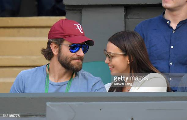 Bradley Cooper and Irina Shayk attend day nine of the Wimbledon Tennis Championships at Wimbledon on July 06 2016 in London England