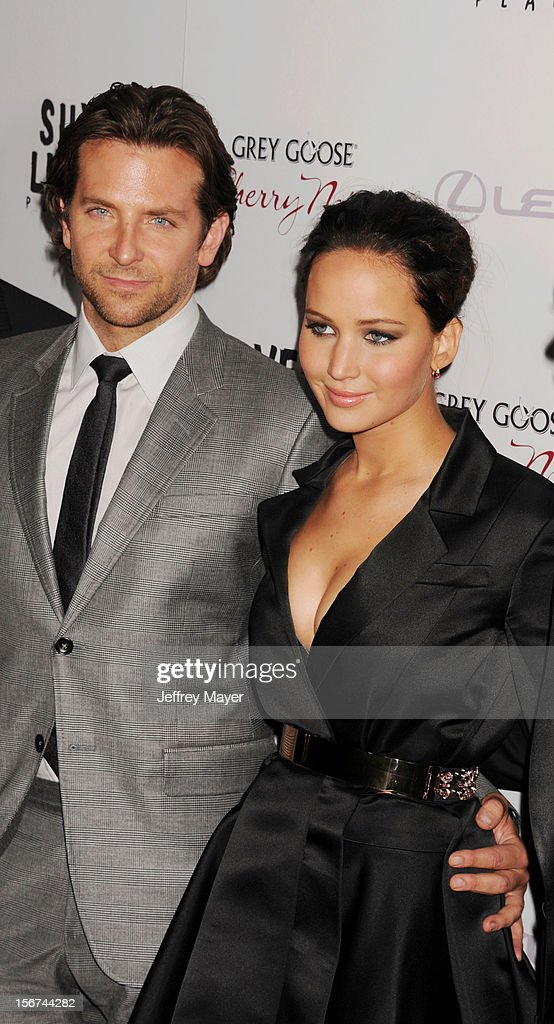Bradley Cooper and Jennifer Lawrence at the Academy of Motion Picture Arts and Sciences on November 19, 2012 in Beverly Hills, California.