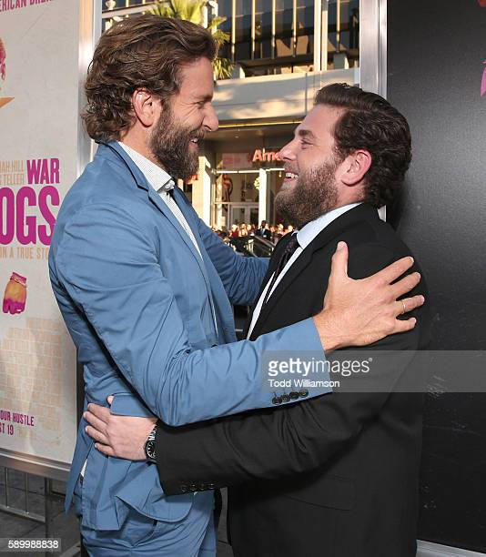 Bradley Cooper and Jonah Hill attend the premiere Of Warner Bros Pictures' 'War Dogs' at TCL Chinese Theatre on August 15 2016 in Hollywood California