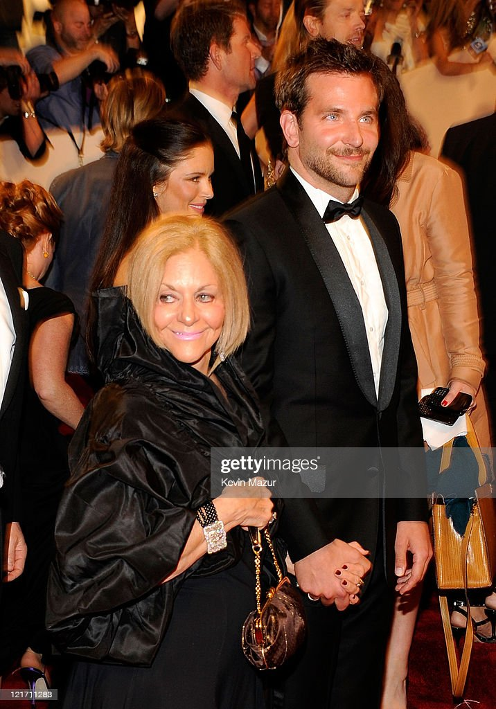 Bradley Cooper (right) and mother Gloria Cooper attends the 'Alexander McQueen: Savage Beauty' Costume Institute Gala at The Metropolitan Museum of Art on May 2, 2011 in New York City.