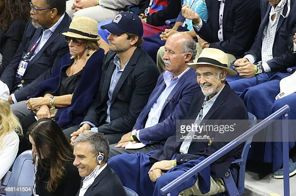 Bradley Cooper and Sean Connery attend the Men's Final on day fourteen of the 2015 US Open at USTA Billie Jean King National Tennis Center on...