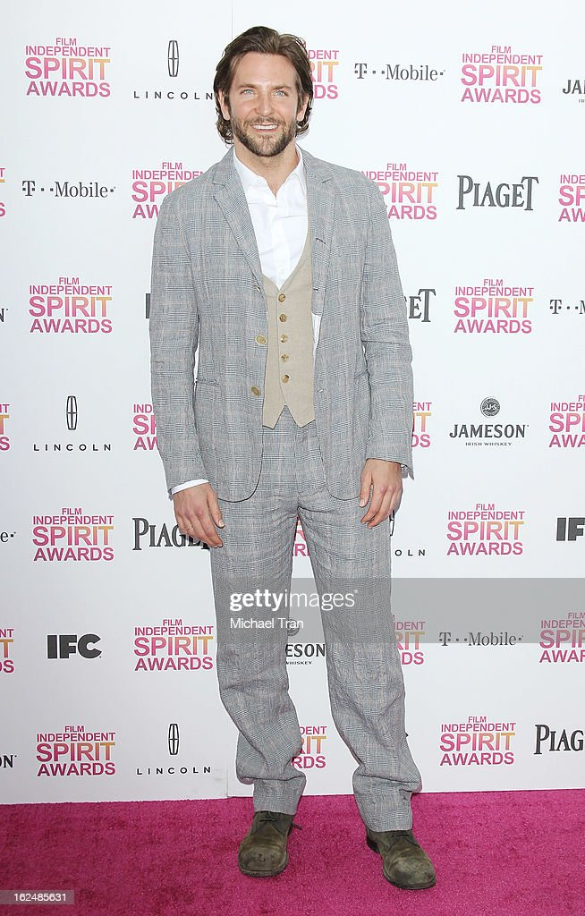 <a gi-track='captionPersonalityLinkClicked' href=/galleries/search?phrase=Bradley+Cooper&family=editorial&specificpeople=680224 ng-click='$event.stopPropagation()'>Bradley Cooper</a> arrives at the 2013 Film Independent Spirit Awards held on February 23, 2013 in Santa Monica, California.