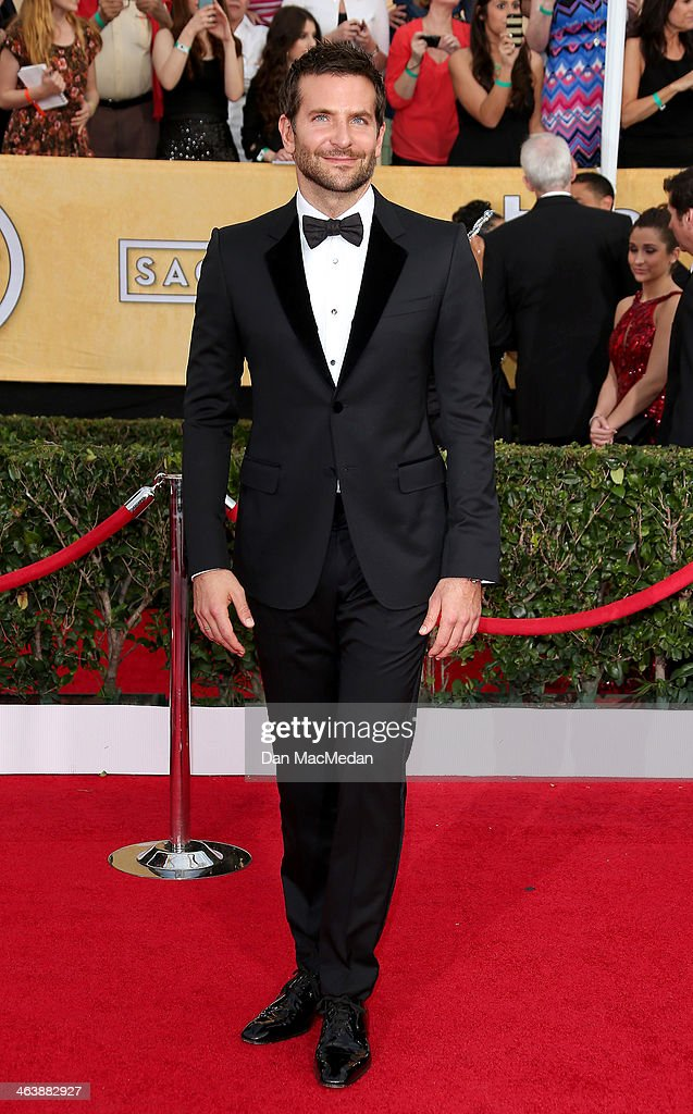 <a gi-track='captionPersonalityLinkClicked' href=/galleries/search?phrase=Bradley+Cooper&family=editorial&specificpeople=680224 ng-click='$event.stopPropagation()'>Bradley Cooper</a> arrives at the 20th Annual Screen Actors Guild Awards at the Shrine Auditorium on January 18, 2014 in Los Angeles, California.