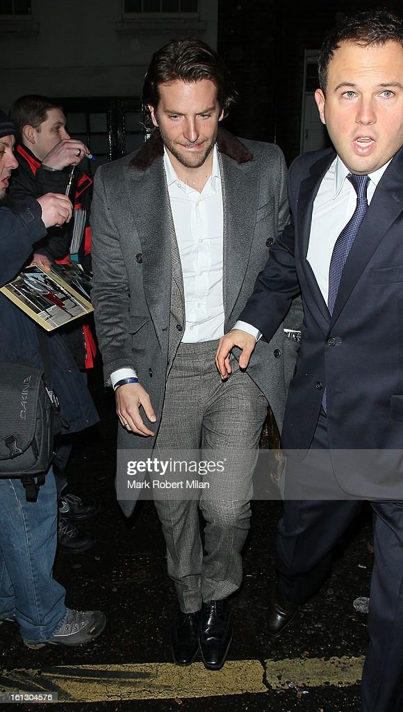 <a gi-track='captionPersonalityLinkClicked' href=/galleries/search?phrase=Bradley+Cooper&family=editorial&specificpeople=680224 ng-click='$event.stopPropagation()'>Bradley Cooper</a> at Anabel's Club on February 9, 2013 in London, England.