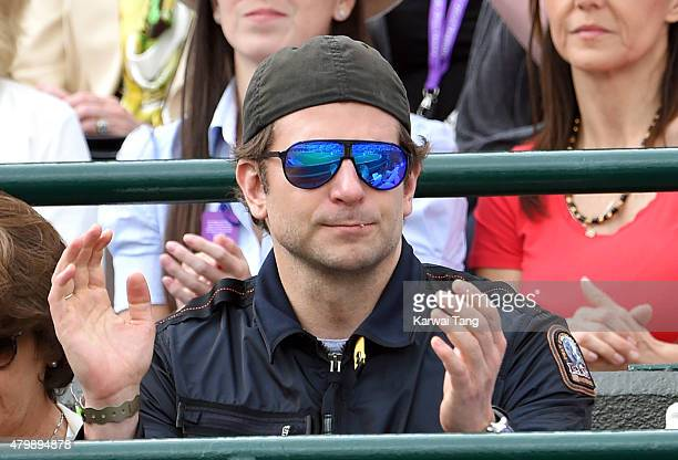 Bradley Cooper attends day nine of the Wimbledon Tennis Championships at Wimbledon on July 8 2015 in London England