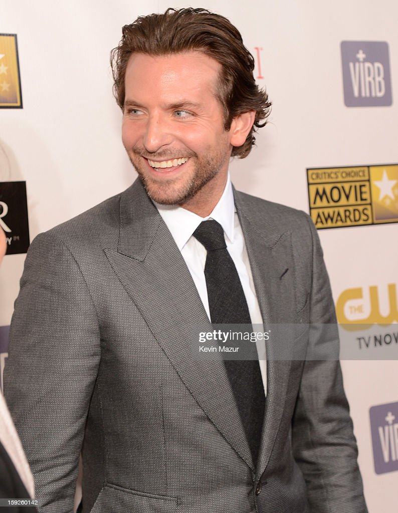 <a gi-track='captionPersonalityLinkClicked' href=/galleries/search?phrase=Bradley+Cooper&family=editorial&specificpeople=680224 ng-click='$event.stopPropagation()'>Bradley Cooper</a> attends the 18th Annual Critics' Choice Movie Awards at The Barker Hanger on January 10, 2013 in Santa Monica, California.
