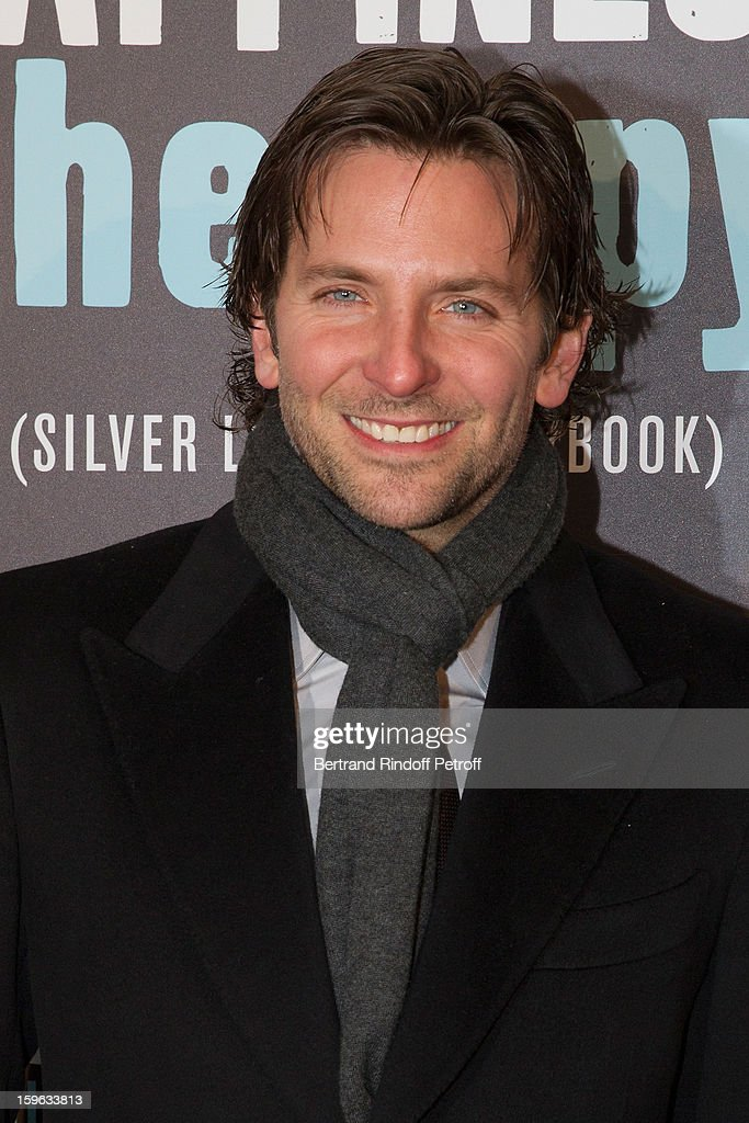 <a gi-track='captionPersonalityLinkClicked' href=/galleries/search?phrase=Bradley+Cooper&family=editorial&specificpeople=680224 ng-click='$event.stopPropagation()'>Bradley Cooper</a> attends the premiere of 'Happiness Therapy' (Silver Linings Playbook) at Cinema UGC Normandie on January 17, 2013 in Paris, France.