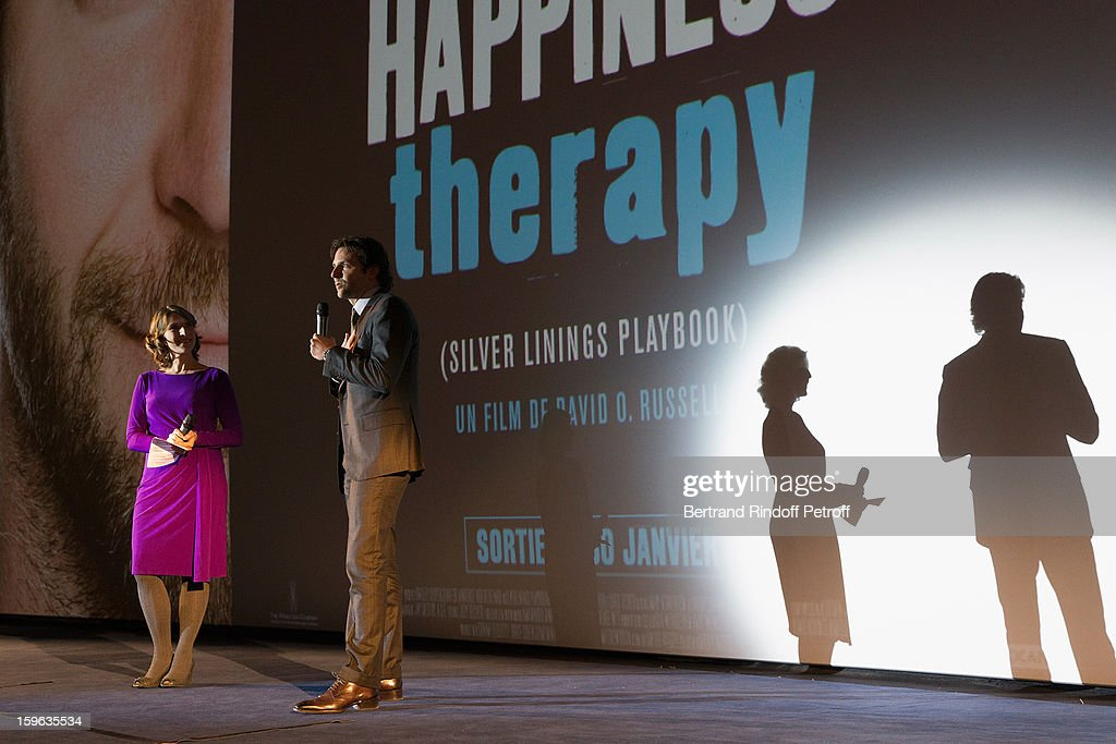 <a gi-track='captionPersonalityLinkClicked' href=/galleries/search?phrase=Bradley+Cooper&family=editorial&specificpeople=680224 ng-click='$event.stopPropagation()'>Bradley Cooper</a> (2nd L) delivers a presentation speech before the screening of 'Happiness Therapy' (Silver Linings Playbook) during its premiere at Cinema UGC Normandie on January 17, 2013 in Paris, France.