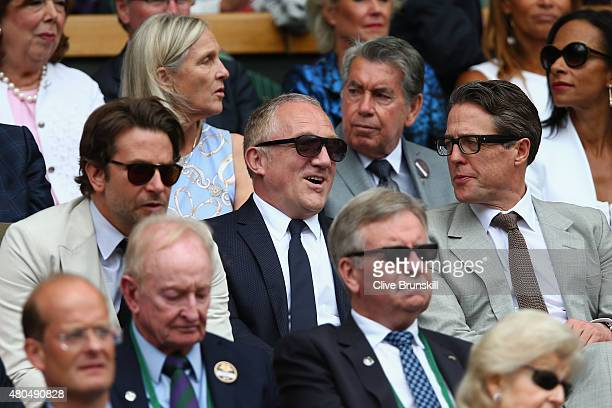 Bradley Cooper FrancoisHenri Pinault and Hugh Grant attend day thirteen of the Wimbledon Lawn Tennis Championships at the All England Lawn Tennis and...