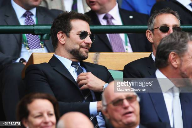 Bradley Cooper in the Royal Box on Centre Court before the Gentlemen's Singles Final match between Roger Federer of Switzerland and Novak Djokovic of...