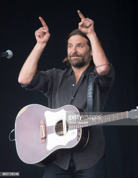 Bradley Cooper performs on the Pyramid Stage as he is recorded for a film on day 2 of the Glastonbury Festival 2017 at Worthy Farm Pilton on June 23...