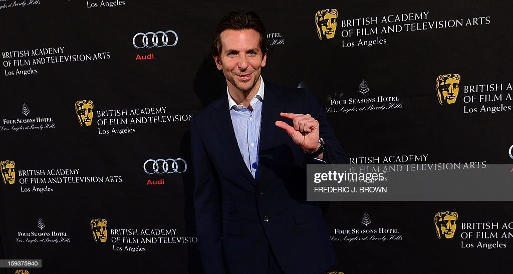 Bradley Cooper poses on arrival for the British Academy of Film and Television Arts (BAFTA) Los Angeles Awards Season Tea Party on January 12, 2013 in Beverly Hills, California. AFP PHOTO / Frederic J. BROWN