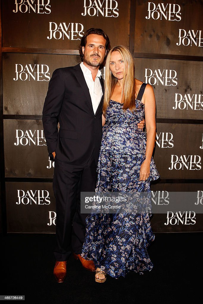 Bradley Cox and Collette Dinnegan arrives at the David Jones A/W 2014 Collection Launch at the David Jones Elizabeth Street Store on January 29, 2014 in Sydney, Australia.