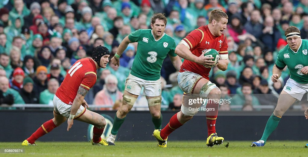 Bradley Davies of Wales breaks with the ball during the RBS Six Nations match between Ireland and Wales at the Aviva Stadium on February 7, 2016 in Dublin, Ireland.