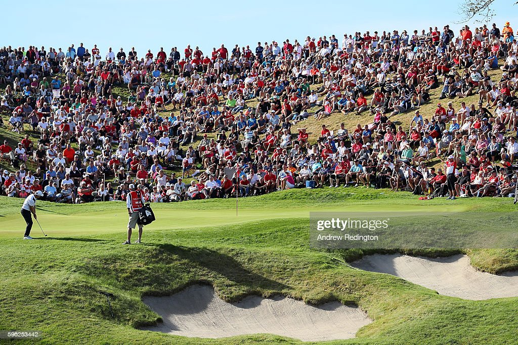 Bradley Dredge of Wales hits his second shot on the 16th hole during the third round of Made in Denmark at Himmerland Golf & Spa Resort on August 27, 2016 in Aalborg, Denmark.