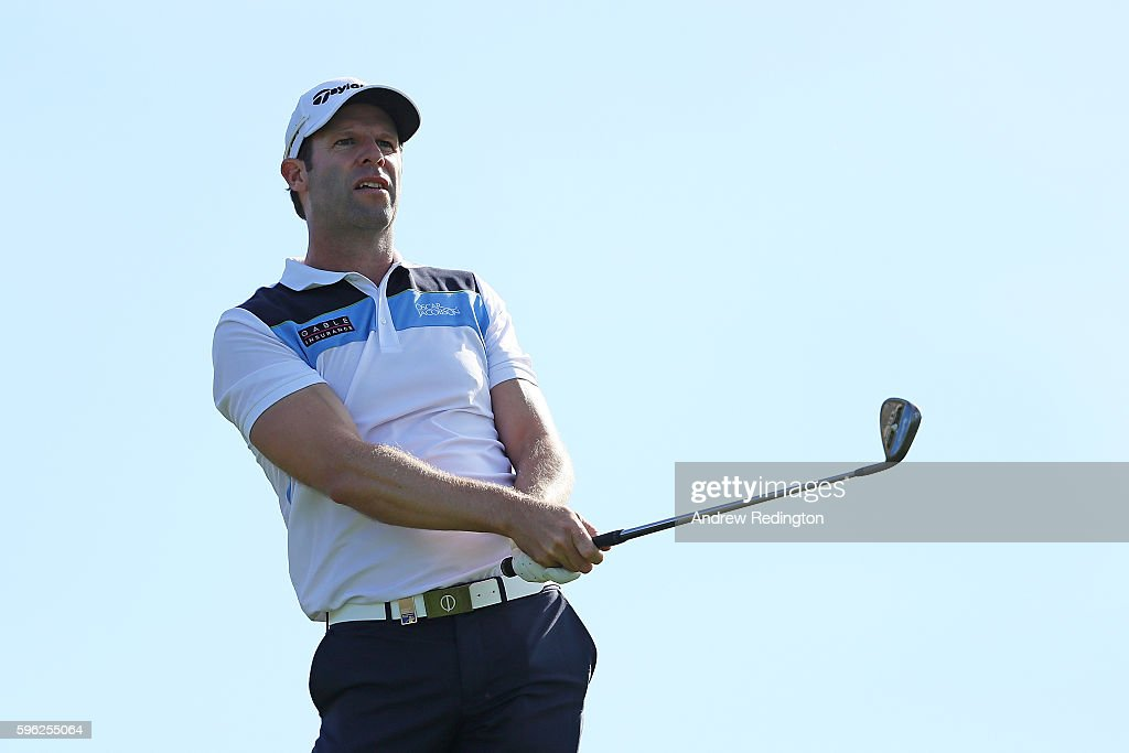 Bradley Dredge of Wales hits his second shot on the 17th hole during the third round of Made in Denmark at Himmerland Golf & Spa Resort on August 27, 2016 in Aalborg, Denmark.