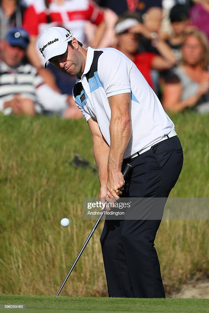 Bradley Dredge of Wales hits his third shot on the 17th hole during the third round of Made in Denmark at Himmerland Golf & Spa Resort on August 27, 2016 in Aalborg, Denmark.