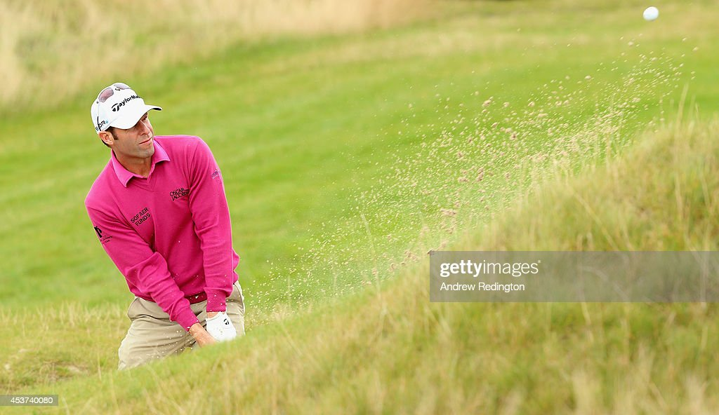 Bradley Dredge of Wales plays a bunker shot on the tenth hole during the final round of the Made In Denmark at Himmerland Golf & Spa Resort on August 17, 2014 in Aalborg, Denmark.