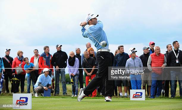 Bradley Dredge of Wales plays his first shot on the 15th tee during day four of DD REAL Czech Masters at Albatross Golf Resort on August 24 2014 in...