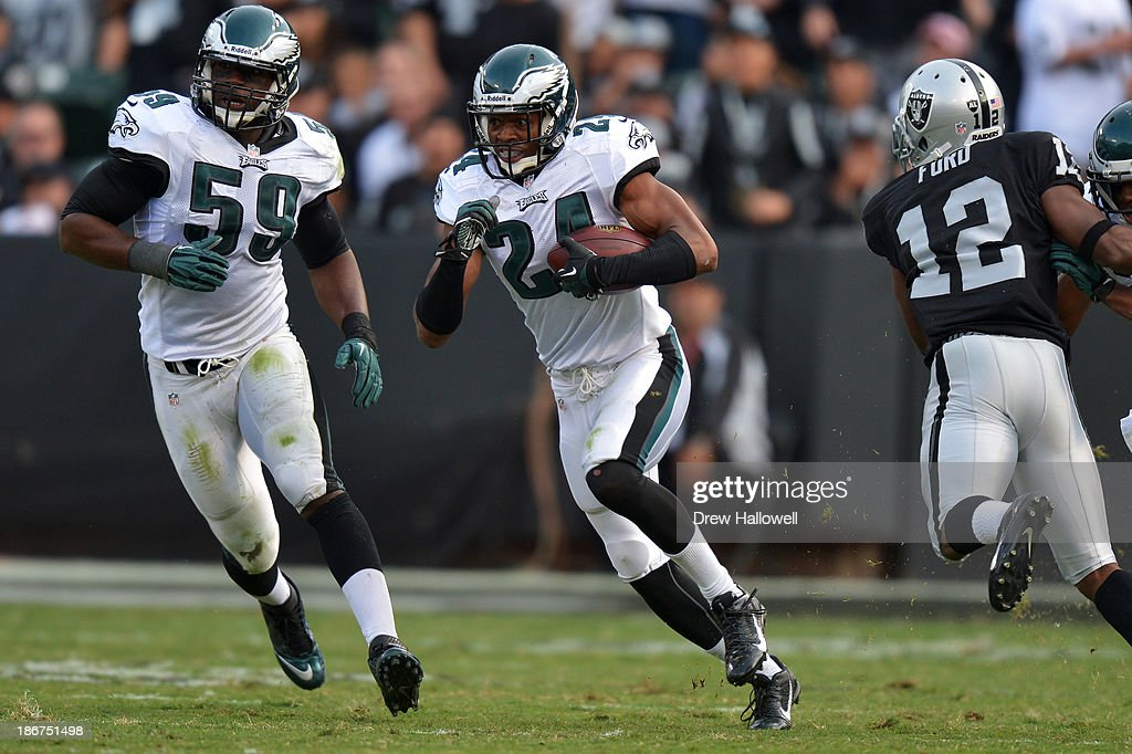 <a gi-track='captionPersonalityLinkClicked' href=/galleries/search?phrase=Bradley+Fletcher&family=editorial&specificpeople=4620736 ng-click='$event.stopPropagation()'>Bradley Fletcher</a> #24 of the Philadelphia Eagles returns an interception against the Oakland Raiders at O.co Coliseum on November 3, 2013 in Oakland, California. The Eagles won 49-20.