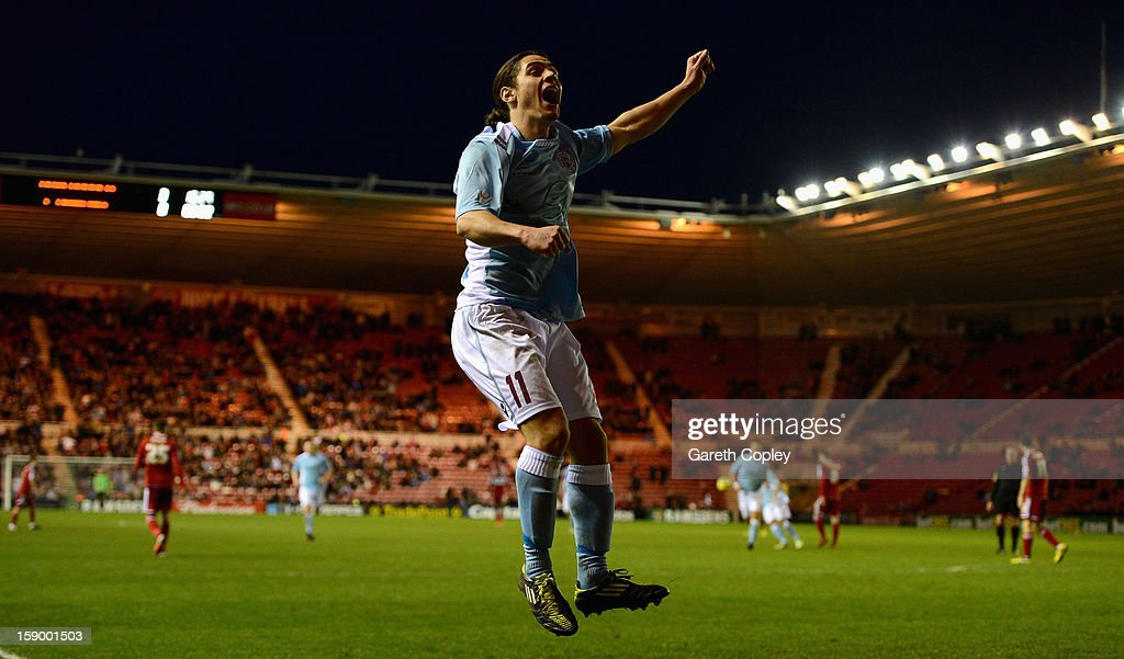 Bradley Goldberg celebrates scoring against Middlesborough during the FA Cup with Budweiser Third Round match between Middlesbrough and Hastings United at Riverside Stadium on January 5, 2013 in Middlesbrough, England.