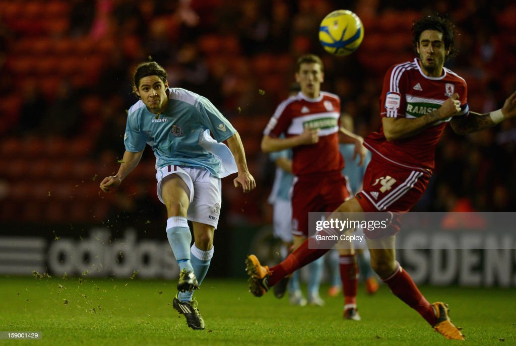 Bradley Goldberg scores past <a gi-track='captionPersonalityLinkClicked' href=/galleries/search?phrase=Rhys+Williams+-+Soccer+Player&family=editorial&specificpeople=13424416 ng-click='$event.stopPropagation()'>Rhys Williams</a> of Middlesborough during the FA Cup with Budweiser Third Round match between Middlesbrough and Hastings United at Riverside Stadium on January 5, 2013 in Middlesbrough, England.
