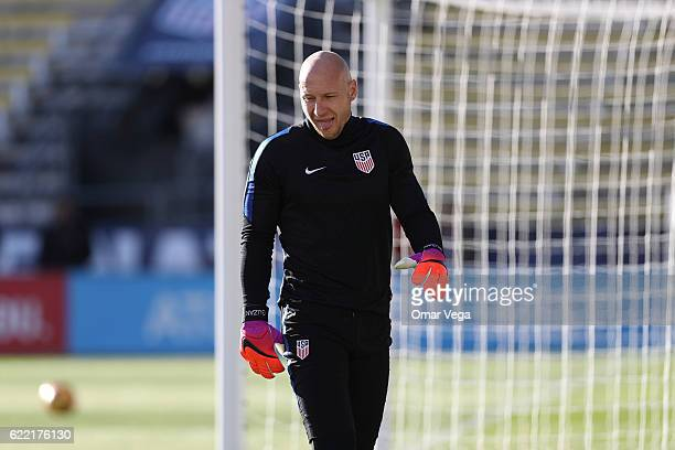 Bradley Guzan goalkeeper of USA warms up during a USA National Team training session at MAPFRE Stadium on November 10 2016 in Columbus United States