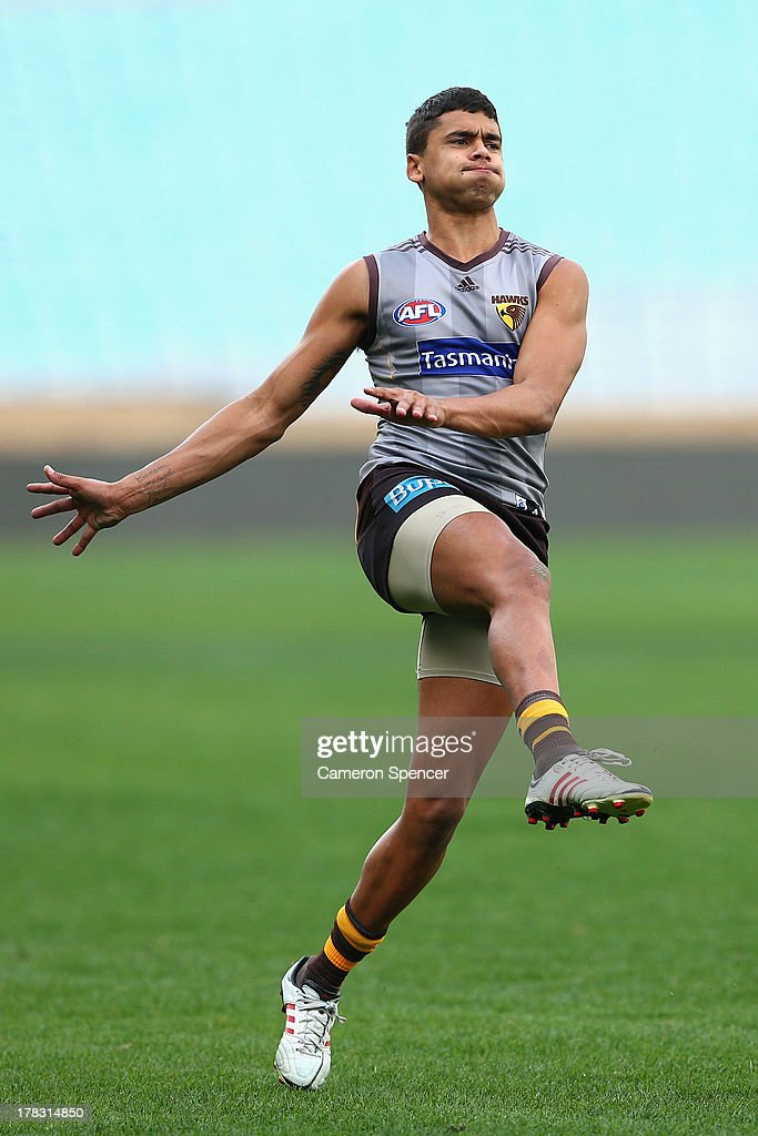 Bradley Hill of the Hawks kicks during a Hawthorn Hawks AFL training session at ANZ Stadium on August 29, 2013 in Sydney, Australia.