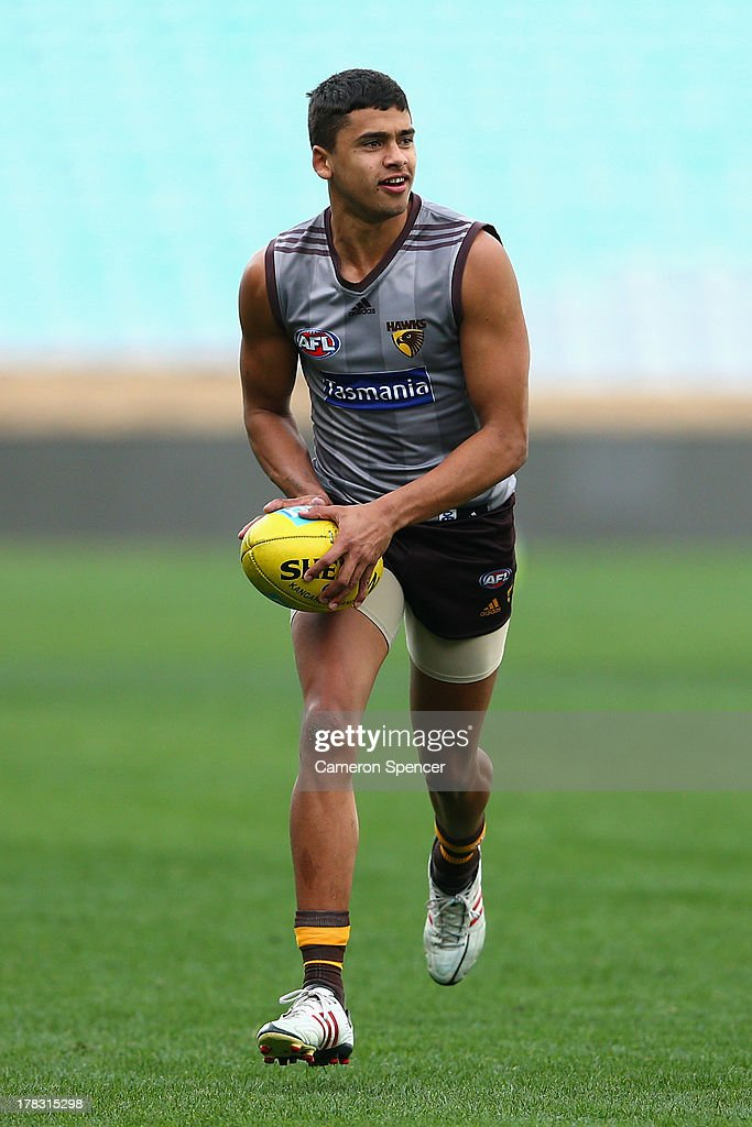 Bradley Hill of the Hawks runs the ball during a Hawthorn Hawks AFL training session at ANZ Stadium on August 29, 2013 in Sydney, Australia.