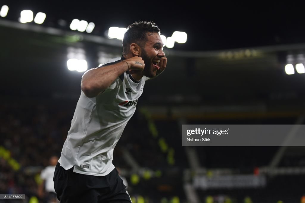 Bradley Johnson of Derby celebrates during the Sky Bet Championship match between Derby County and Hull City at iPro Stadium on September 8, 2017 in Derby, England.