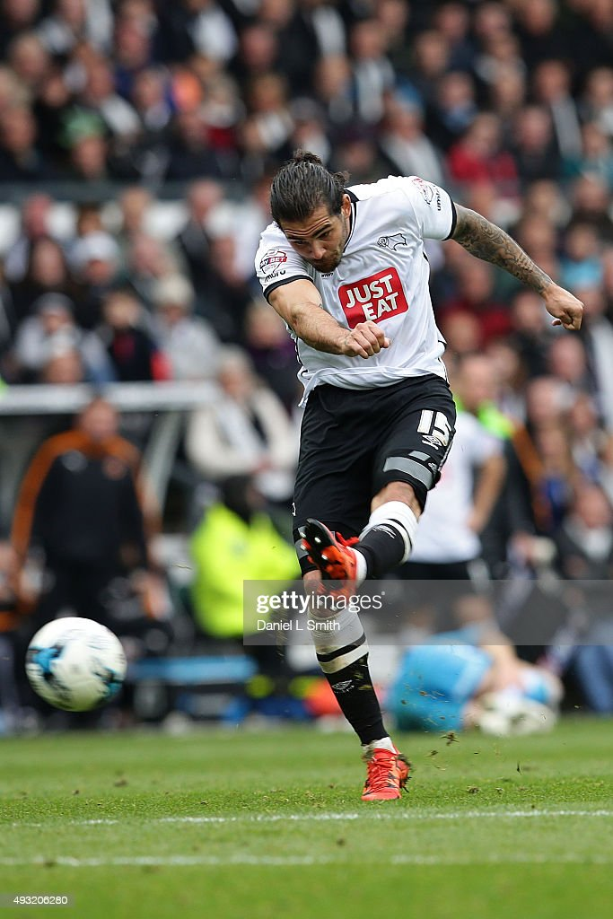 Bradley Johnson of Derby County FC takes at goal during the Sky Bet Championship match between Derby County and Wolverhampton Wanderers at Pride Park Stadium on October 18, 2015 in Derby, England.