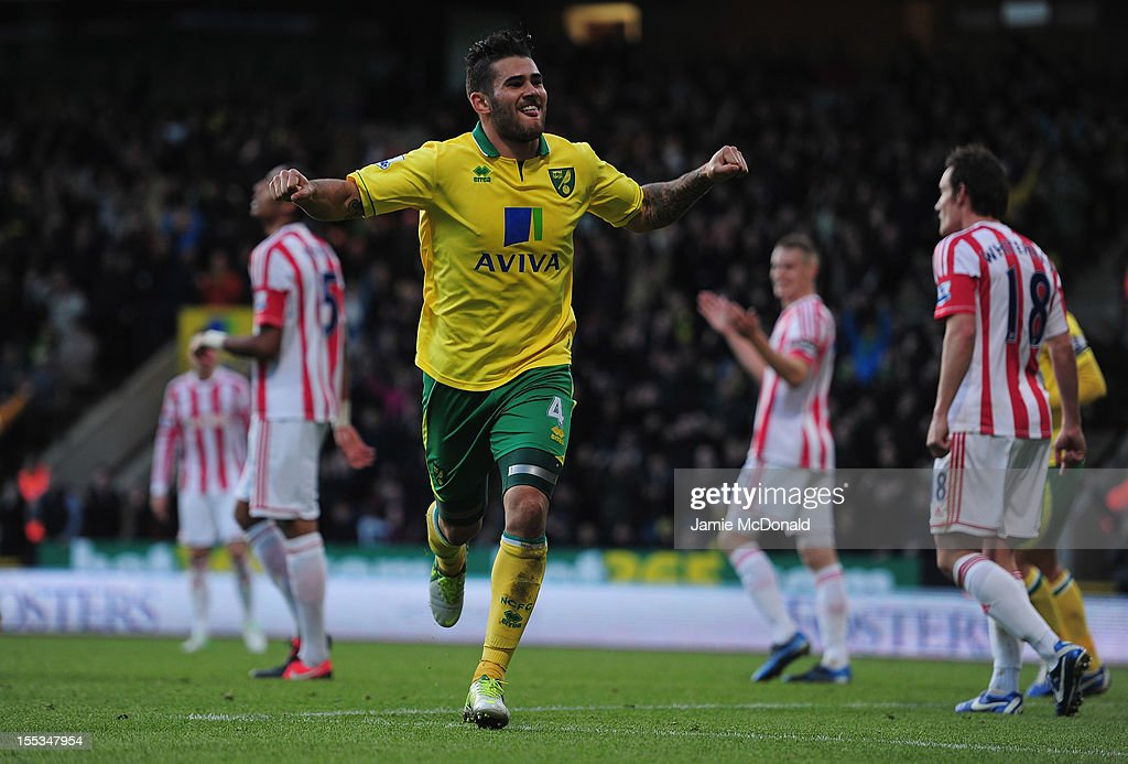 Bradley Johnson of Norwich City celebrates his goal during the Barclays Premier League match between Norwich City and Stoke at Carrow Road on November 3, 2012 in Norwich, England.