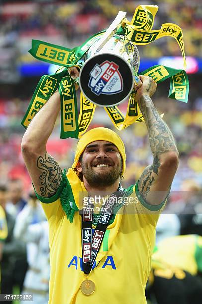 Bradley Johnson of Norwich City celebrates with the trophy after the Sky Bet Championship Playoff Final between Middlesbrough and Norwich City at...