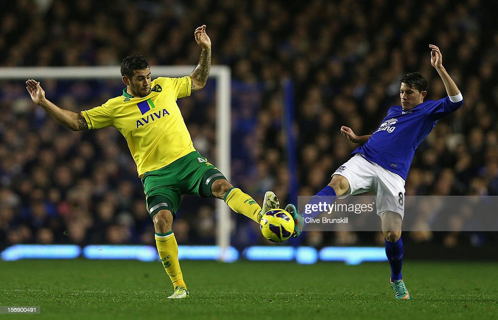 Bradley Johnson of Norwich City clashes for the ball with Bryan Oviedo of Everton during the Barclays Premier League match between Everton and Norwich City at Goodison Park on November 24, 2012 in Liverpool, England.