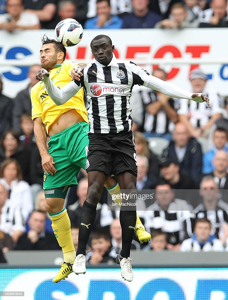 Bradley Johnson (L) of Norwich City competes with Papiss Cisse of Newcastle United during the Barclays Premier League match between Newcastle United and Norwich City on September 23, 2012 in Newcastle, England.
