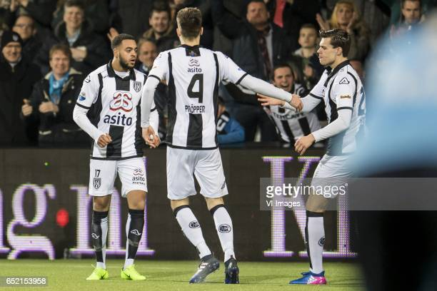Bradley Kuwas of Heracles Almelo Robin Propper of Heracles Almelo Justin Hoogma of Heracles Almeloduring the Dutch Eredivisie match between Heracles...