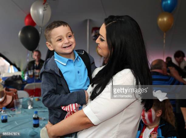 Bradley Lowery and mum Gemma at his 6th birthday party at Welfare Park Blackhall on May 19 2017 in Peterlee England